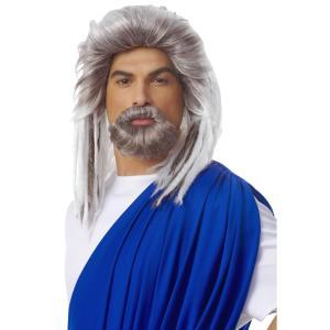 王様 ウィッグ、かつら 口ひげ 大人男性用 ホワイト 髭 KING OF THE SEA【ハロウィン:ウィッグ_hw16_mk05】|amecos