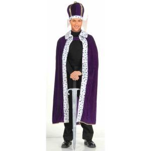 王様のマントと王冠 紫 コスチューム 大人男性用 King Robe & Crown Set Purple|amecos