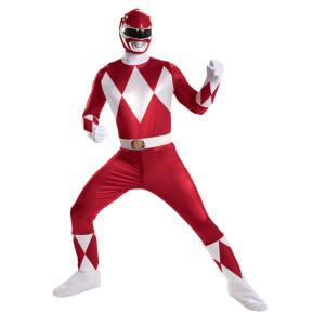 パワーレンジャー ヒーロー 衣装、コスチューム SUPER DELUXE 大人男性用 Red Ranger|amecos
