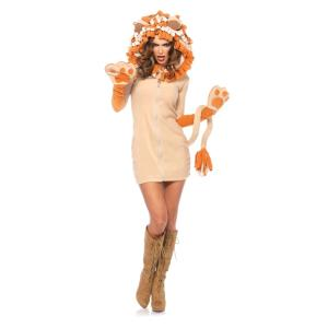 動物 大人女性用コスチューム Cozy Lion amecos