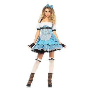 お揃いのヘアバンドもセットのバックル付き可愛いストライプドレスの「不思議の国のアリス」に登場するアリ...