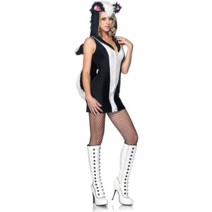 スカンクの大人女性用コスチュームです。  ハロウィンでの仮装や、各種パーティでのコスプレに!  ■含...