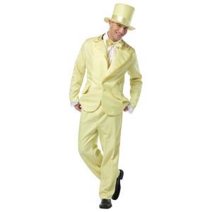 ダンサー スーツ タキシード 衣装、コスチューム 大人男性用 70S FUNKY TUXEDO PASTEL YELLOW amecos