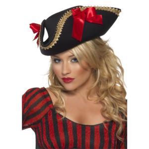 海賊帽子 黒 リボン 大人女性用 Fever Pirate Hat|amecos