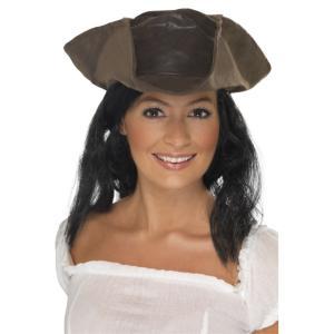 海賊帽子 茶 ロングヘアー 大人男性用 Leather Look Pirate Hat|amecos