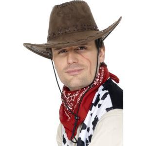 カウボーイハット 茶 スエード ウエスタン 大人男性用 Suede Look Cowboy Hat amecos