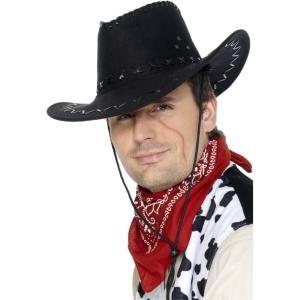 カウボーイハット 黒 スエード ウエスタン 大人男性用 Suede Look Cowboy Hat amecos