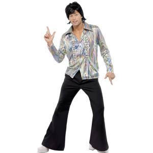 レトロ 黒 衣装、コスチューム ディスコ 大人男性用 70s Retro amecos