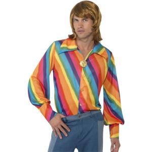 シャツ レインボー 1970年代風 大人男性用 1970s Rainbow Colour Shirt amecos