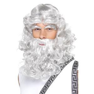 ゼウス ウィッグ、かつら 付け髭 眉毛 大人用 グレー amecos