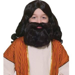 クリスマスのお芝居に使えます。 聖書時代風のブラックのウィッグとひげのセットです。