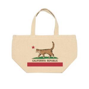 猫 ネコ キャンバス ランチバッグ カリフォルニャリパブリック 猫 ネコ ミニトート お散歩バッグ アイボリー|amegare