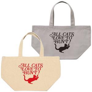猫 ネコ キャンバス ランチバッグ ミニトート ロゴ風 シルエット LOVE アイボリー ライトグレー|amegare