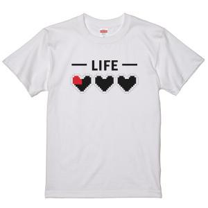 ライフゲージ ハートの器 Tシャツ プリント レトロゲーム ゼルダ風 ドット 面白い おもしろTシャツ パロディ ジョーク ホワイト ユニセックスサイズ|amegare