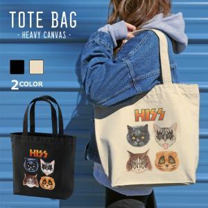 HISS 猫 ネコ キャンバス トートバッグ アイボリー ベージュ パロディ 可愛い A4 パロディ|amegare