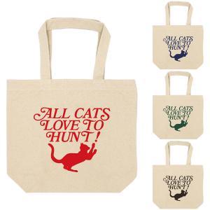 ネコ 猫 キャンバス トートバッグ アイボリー ロゴ風 シルエット オシャレ シンプル エコバッグ A4|amegare
