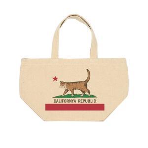 キャンバス ランチバッグ カリフォルニャリパブリック 猫 ネコ ミニトート お散歩バッグ アイボリー|amegare