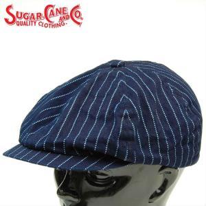Sugar Caneシュガーケーン WABASH STRIPE APPLEJACK CAP インディゴウォバッシュアップルジャックキャップ・キャスケット「SC02070」 amekajishop-klax-on