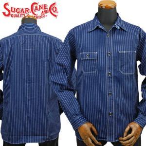 SUGARCANEシュガーケーン FICTION ROMANCE 8.5ozウォバッシュストライプ ワークシャツ WABASH STRIPE WORK SHIRT「SC25551A」 amekajishop-klax-on