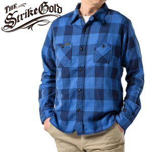 THE STRIKE GOLDストライクゴールド インディゴネルチェックワークシャツINDIGO NEL CHECK WORK SHIRTSネルシャツ「SGS018」