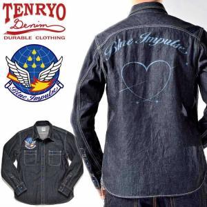 倉敷天領デニム×ブルーインパルス TENRYO DENIM×BLUE IMPULSE 10ozデニム オリジナルワークシャツ「バーティカルキューピッド VERTICAL CUPID」TDS-BI02|amekajishop-klax-on