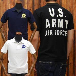 ミリタリー鹿の子ポロシャツ「U.S.ARMY AIR FORCES(U.S.A.A.F.)」◆アメカジ/メンズ◆|amekajishop-klax-on