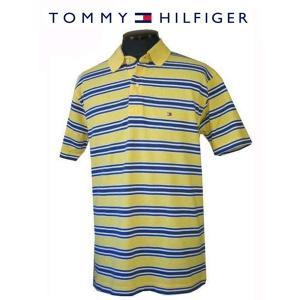 トミーヒルフィガー TOMMY HILFIGER メンズポロシャツ 半袖かの子ボーダー2本線 ポロシャツ イエロー (L) (13時までの注文は当日発送 土日祝日は除く)|america-direct