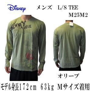DISNEY VINTAGE(ディズニーヴィンテージ ) メンズ長袖Tシャツ カットソー ロンT ミッキーマウス M25M2・Olive   (13時までの注文は当日発送 土日祝日は除く)|america-direct