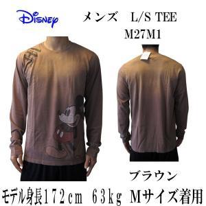 DISNEY VINTAGE(ディズニーヴィンテージ ) メンズ長袖Tシャツ カットソー ロンT ミッキーマウス M27M1 ブラウン (13時までの注文は当日発送 土日祝日は除く)|america-direct