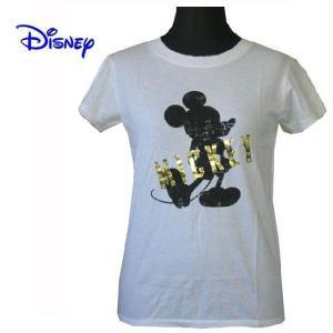 Disney Vintage ディズニー・ビンテージ レディース半袖カットソー Tシャツ ミッキーマウス Glan White/Gold(M) (13時までの注文は当日発送 土日祝日は除く)|america-direct