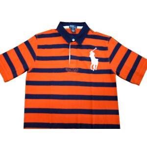 ポロ ラルフローレン POLO RALPH LAUREN ボーイズ ビッグポニー 鹿の子ポロシャツ ボーダー オレンジ (13時までの注文は当日発送 土日祝日は除く)|america-direct