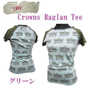 ステューシーガール Stussy Girls レディース半袖カットソー Tシャツ Crowns RaglanTee Green (13時までの注文は当日発送 土日祝日は除く)|america-direct