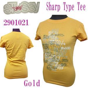 ステューシーガール Stussy Girls レディース半袖カットソー Tシャツ Sharp Type Tee Gold S (13時までの注文は当日発送 土日祝日は除く)|america-direct