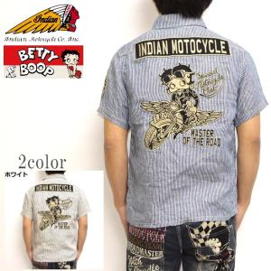 インディアンモトサイクル ベティブープ Indian Motocyacle BBI-927 半袖シャツ ストライプシャツ BETTY トップス メンズ|americanbass