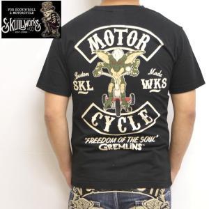 スカルワークス グレムリン コラボ SKULL WORKS GRM-07 半袖Tシャツ ブラック色 ...