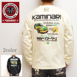カミナリ kaminari KMLT-154 長袖Tシャツ オフホワイト色 カミナリワークス エフ商会|americanbass