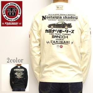 カミナリ kaminari KMLT-175 長袖 Tシャツ オフホワイト色 Nostalgia shadow|americanbass