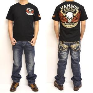 バンソン VANSON NVST-902 半袖Tシャツ 天竺半袖TEE ファイアースカル メンズ|americanbass|08