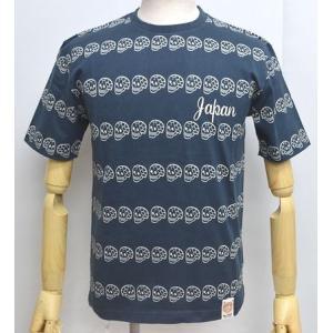 爆裂爛漫娘 爆烈爛漫娘 半袖 Tシャツ ドクロボーダー 和柄 エフ商会 RMT-244 ネイビー色|americanbass