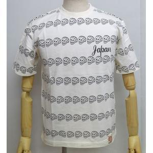 爆裂爛漫娘 爆烈爛漫娘 半袖 Tシャツ ドクロボーダー 和柄 エフ商会 RMT-244 オフホワイト色|americanbass