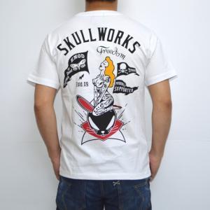 クローズ×ワースト SWT-16 半袖Tシャツ ホワイト色 デスラビットガール CROWS WORST|americanbass