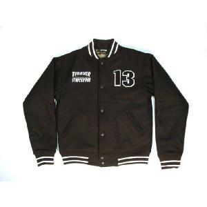 THRASHER / スラッシャー MELTON STADIUM JKT メルトン スタジアムジャケット BLACK ブラック 送料無料|americanrushstore