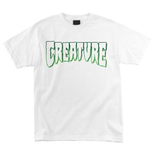 クリーチャー メンズ ロゴ アウトライン 半袖 Tシャツ ホワイト 白 スケボー スケートボード CREATURE LOGO OUTLINE REGULAR S/S T-SHIRT WHITE americanrushstore