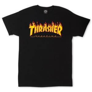 スラッシャー マガジン フレイム ロゴ 半袖Tシャツ ブラック ファイヤーパターン THRASHER  MAGAZINE FLAME LOGO S/S T SHIRT BLACK|americanrushstore