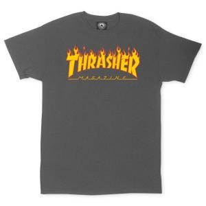 スラッシャー マガジン フレイム ロゴ 半袖Tシャツ マグロゴ チャコール ファイヤーパターン THRASHER MAGAZINE FLAME LOGO S/S T SHIRT CHARCOAL|americanrushstore