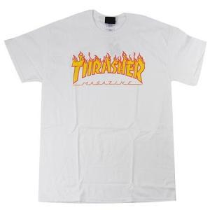 スラッシャー マガジン フレイム ロゴ 半袖Tシャツ ホワイト ファイヤーパターン THRASHER  MAGAZINE FLAME LOGO S/S T SHIRT WHITE|americanrushstore