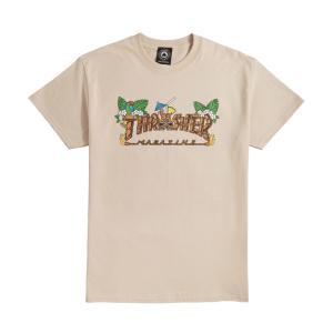 スラッシャー メンズ レディース スケートボード マガジン マグロゴ ティキ 半袖 Tシャツ サンド THRASHER SKATEBOARD MAGAZINE TIKI S/S T SAND|americanrushstore