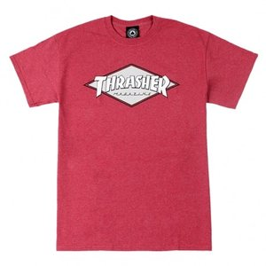 THRASHER / スラッシャー OG DIAMOND LOGO 半袖 Tシャツ RED HEATHER|americanrushstore