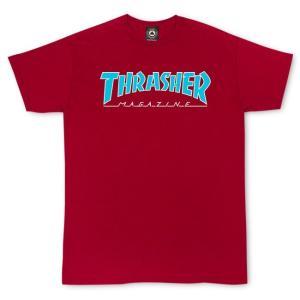 スラッシャー スケートボード マガジン ロゴ 半袖Tシャツ カーディナル レッド THRASHER SKATEBOARD MAGAZINE LOGO OUTLINED S/S T SHIRT CARDINAL RED|americanrushstore