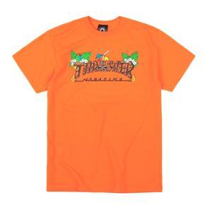 スラッシャー メンズ レディース スケートボード マガジン マグロゴ ティキ 半袖 Tシャツ オレンジ THRASHER SKATEBOARD MAGAZINE TIKI S/S T SAFETY ORANGE|americanrushstore